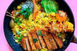 Avocado chicken with the fried rice and vegetable-Keephumanity