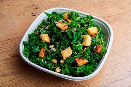 Salads with kale, croutons, and tomato- Bakersfield salads-Keephumanity research